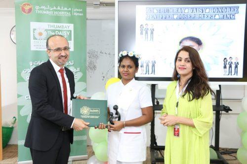 Our Daisy winner was Ms. Jennifer Joseph of Left Wing, Thumbay Hospital, Ajman